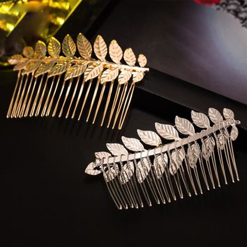 New Arrive Sales Hair Combs Hairpin Leaves Accessories Metal Tiara Head Decorated Diy Headdress gold/silver color Clip for women