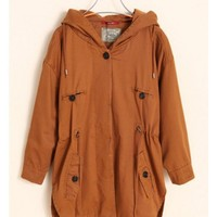 Women Autumn Winter New Style Euro Style Hood Draw Cord Cotton Brown Jacket S/M@WH0073br $44.26 only in eFexcity.com.