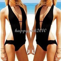 Sexy Black Monokini Halter Swimwear Bathing Swimsuit