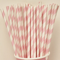 Pastel Paper Straws PRECIOUS PINK Striped Paper by ThePartyFairy