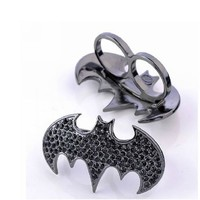 Zehui Retro Vintage Full Rhinestone Black Bat Punk Rock Two Finger Ring Rings UNADJUSTABLE