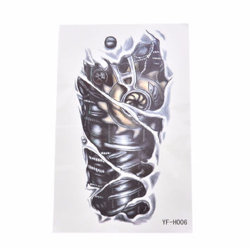 1PCS New 3D Sexy Fake Transfer Tattoo Chest  Tatoos For Men Temporary Large Mechanical Arm Tattoo Sticker Women