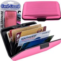 Trademark Home 82-4986 Aluminum Credit Card Wallet RFID Blocking Case, Pink