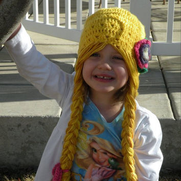 Cutest Rapunzel Character Hat with Long Braids by Evermicha