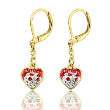 Jewelry for Kids, Earrings for Girls, Colored Crystal Heart Leverback 14K Gold Plated Kids, Children, Two Tone Heart Earrngs Little Girls
