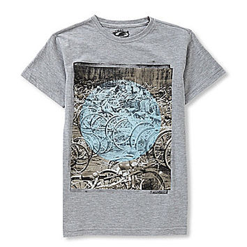 First Wave 8-20 Bike Graphic Tee - Grey Heather
