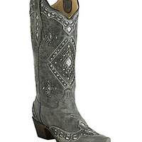 Corral Women's Vintage Charcoal with Silver Sequin Inlay Snip Toe Western Boots