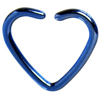 Blue Titanium Hollow Heart Closure Daith CartilageTragus Earring | Body Candy Body Jewelry