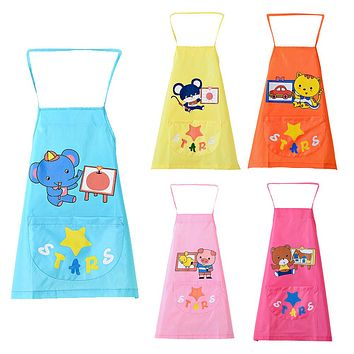 Baby Cartoon Art Smock Apron Infant Kids Waterproof Self-feeding Bibs