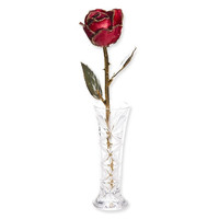 Lacquer Dipped 24k Gold Trim Red Rose & Small Bud Vase Set