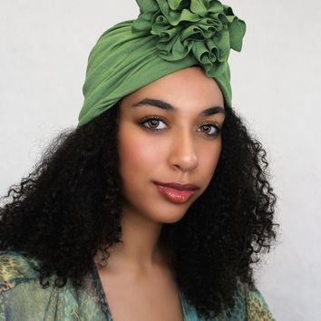 Olive Green Flower Turban