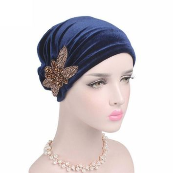 MUQGEW  Fashion Women Velvet Casual Style Solid Color Hats Women Cancer Chemo Hat Beanie Scarf Turban Head Wrap Cap