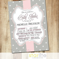 Baby Shower Invitation - Pink Grey Polka Dots 5x7 - Vintage style frame, baby girl - unique invitation typography - You Print