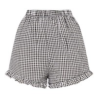 Lorinda Black Gingham Frill Hem Shorts