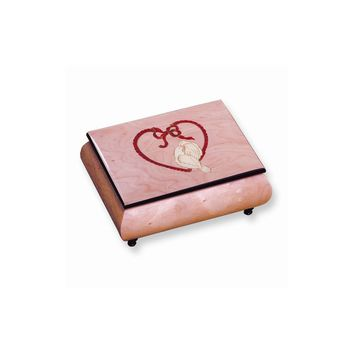 Pink and Red Doves & Heart Inlay Music Box