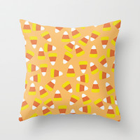 Candy Corn Jumble (light orange background) Throw Pillow by Lisa Argyropoulos