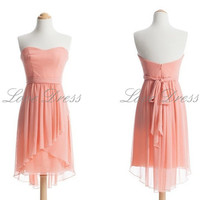 Simple pink short prom dress / bridesmaid dress/homecoming dress