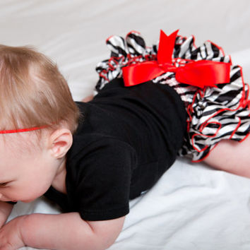 Red Zebra Baby Ruffle Bloomer