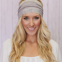 Gray Jersey Lace Headband Head Wrap with WHITE Lace Trim Wide Hair Covering
