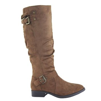 HUGE Sale! Buckle Detail Tall Tan Suede Riding Boots
