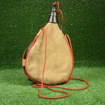 Vintage Leather Wineskin or Water, Hand Wineskin Vintage Camping Water Skin Bottle Hiking Accessory, Water Bottle Leather
