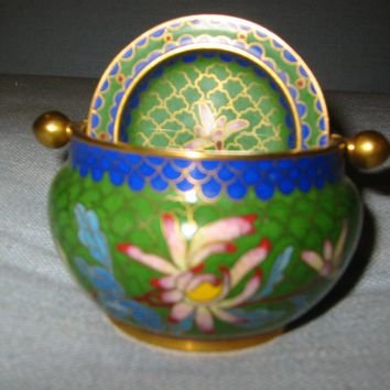 Oriental Green Roll Top Cloisonne Covered Bowl Enameled Lotus Flowers