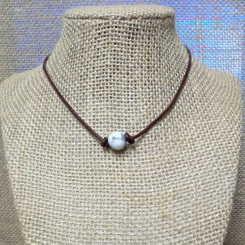 Matte White Howlite Semi-Precious Stone Genuine Leather Cord Choker Necklace Pearl Slip Knot Closure