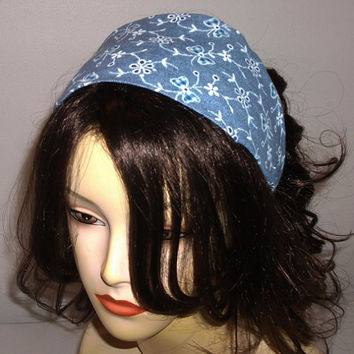 Wide Fabric Headband Blue Bows and Flowers Country Chic
