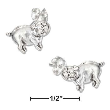 Sterling Silver Earrings:  Mini Pig Earring On Stainless Steel Posts And Nuts