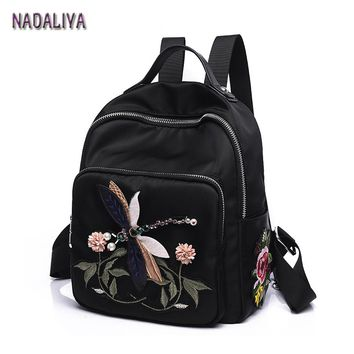 NADALIYA 2017 New Hand Embroidery Flower Dragonfly Lady Shoulder Bag Multi-Functional Fashion designer 3D National Wind