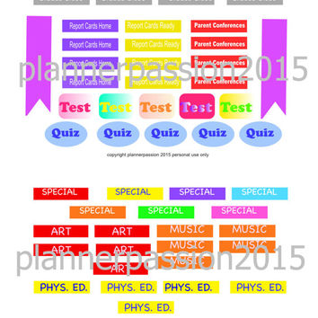 Clip Art for Teachers School Clipart Teacher Calendar Clipart to make stickers for planners