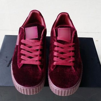 [With original box] 2017 New Velvet Rihanna x Suede Creepers Rihanna Creeper Grey Red Black Women Men Fashion cheap Casual Shoes sneakers