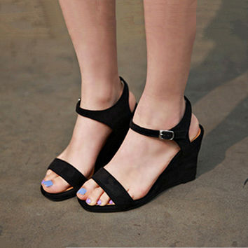 Stylish Design Summer Korean Leather Wedge Black Sandals [6044930497]