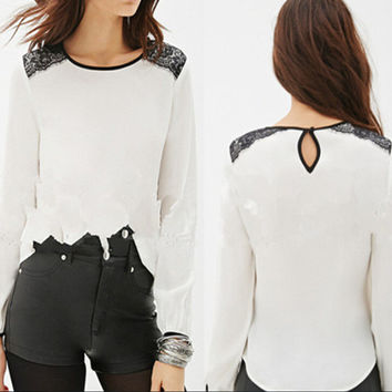 Round Neck Long Sleeves Lace Spliced Chiffon Shirt
