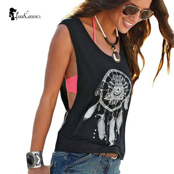 New Summer Style Women Sexy Top Black White Hollow Out Off Shoulder Round Neck Sleeveless Vintage Feather Print Casual Tank Tops