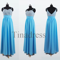 Custom Blue Beaded Long Bridesmaid Dresses 2014 Prom Dresses Fashion Evening Dresses Party Dress Evening Gowns Homecoming Dresses