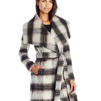BCBGeneration Women's Plaid Wool Wrap Coat, Plaid, Small