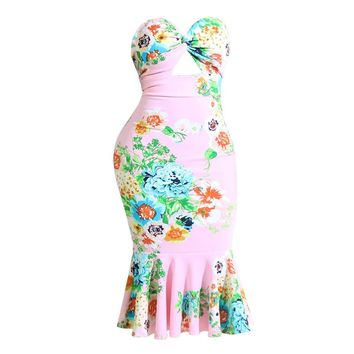 Women Strapless Bodycon Dress Pink Floral Print Sleeveless Hollow Out Sexy Dress Summer Party Club Backless Skinny Mermaid Dress