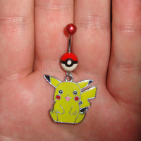 Pokemon Pokeball Pikachu  Belly Ring