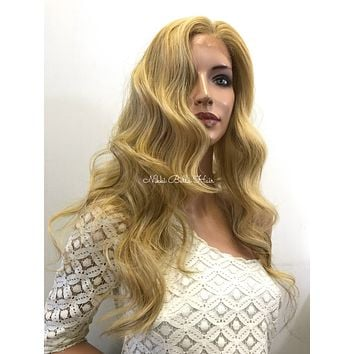 Natural Blonde Curly Human Hair Blend Deep Parting Front Lace Wig - Jewel 61017 14