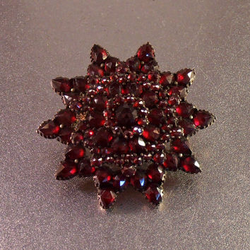 Victorian Bohemian Garnet Brooch, Rose Cut, Star Shape, Antique Layered