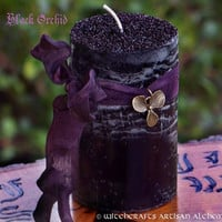 BLACK ORCHID Gothic Witches Pillar Candle for Rituals to Induce Trance, Draw Out Psychic Powers, Glamoury, Dark Goddess, New Moon Magic