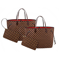 LV Louis Vuitton Neverfull classic old flower shopping bag mother bag two-piece