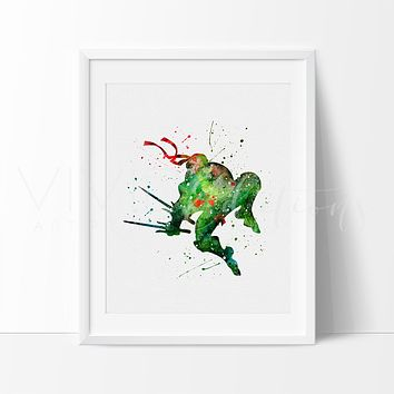 Teenage Mutant Ninja Turtles - Raphael Watercolor Art Print