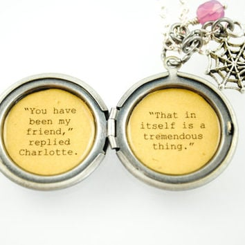 Charlotte's Web Quote - Women's Locket - You have been my friend. That in itself is a tremendous thing - Friendship Neclkace
