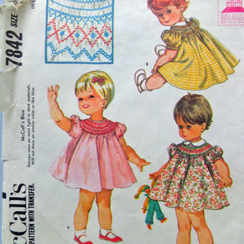 McCall's 60s Sewing Pattern 7842 Toddlers Smocked Dress Baby Girl Puff Sleeves Loose Fit Size 6 Months