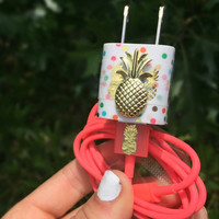 Gold pineapple polka dot iphone 5 5c 6 6s charger
