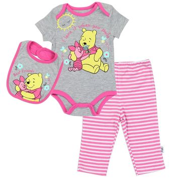 Disney Winnie The Pooh Girls 3-Piece Onsie, Pants, and Bib Set.