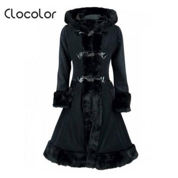 Women Black Hooded Winter Wool Coat Full Sleeve Autumn Winter Warm Female Long Cloaks Outwear