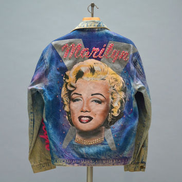 80s Handpainted Jean Jacket - Vintage Eighties Hand Painted Denim Jacket Marilyn Monroe Pop Art Some Like It Hot Rhinestone Bedazzled Jacket
